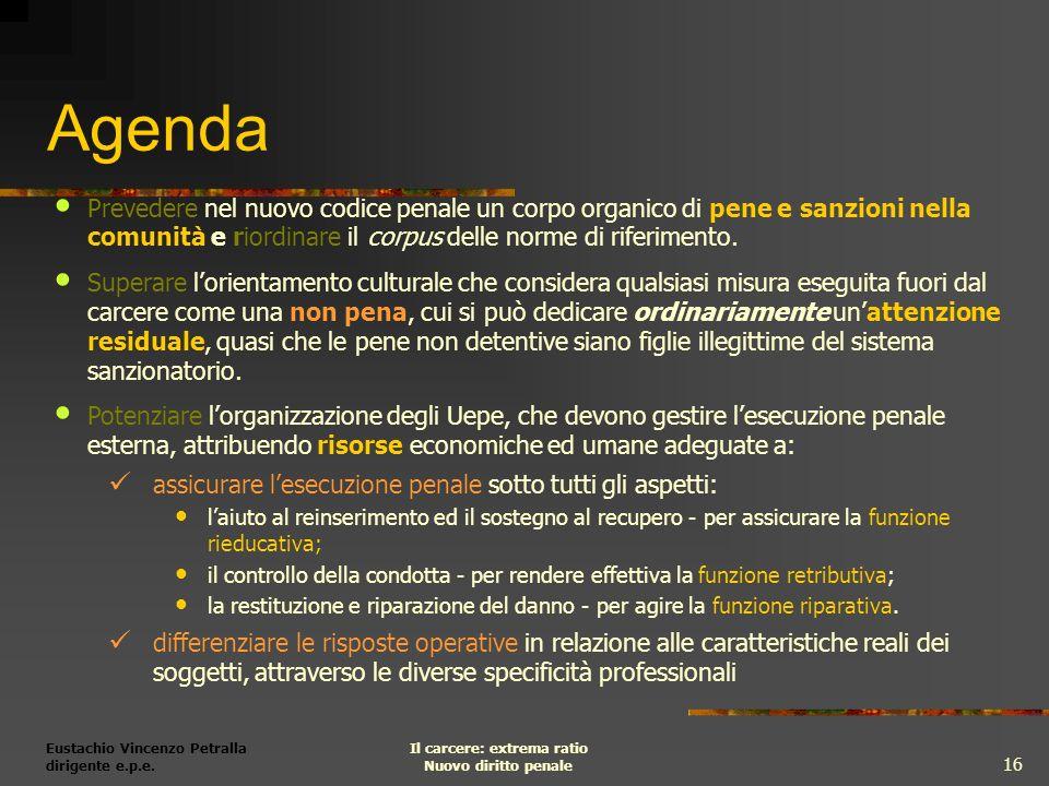 Eustachio Vincenzo Petralla dirigente e.p.e. Il carcere: extrema ratio Nuovo diritto penale 16 Agenda Prevedere nel nuovo codice penale un corpo organ