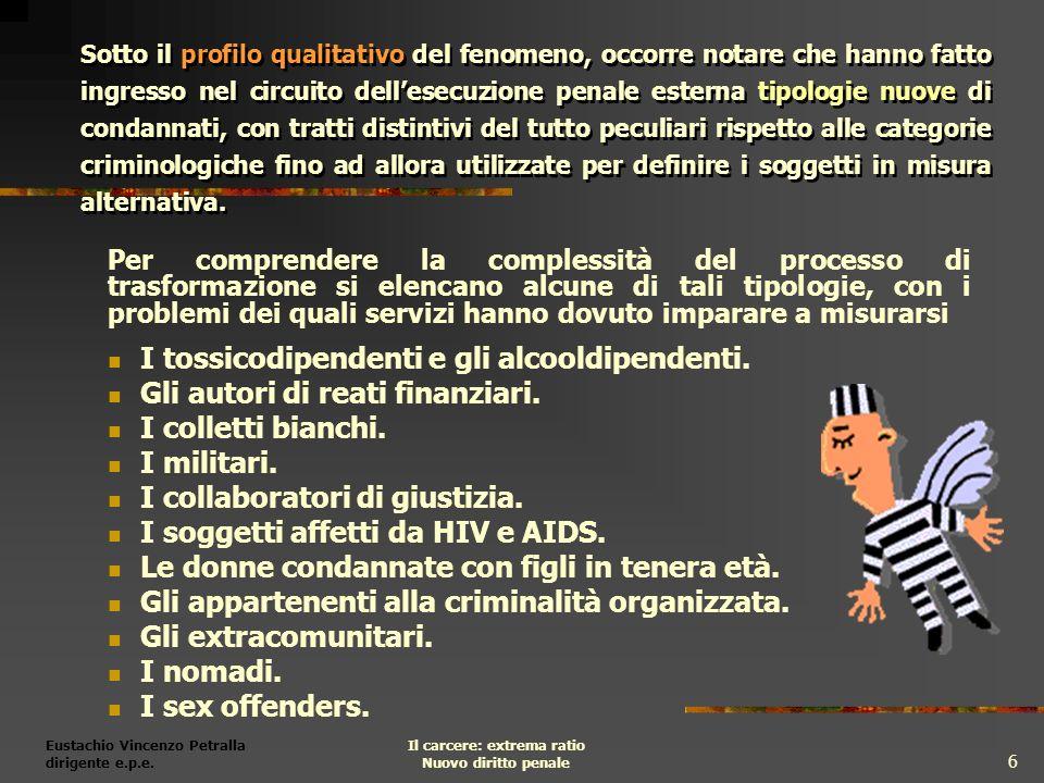 Eustachio Vincenzo Petralla dirigente e.p.e. Il carcere: extrema ratio Nuovo diritto penale 6 Sotto il profilo qualitativo del fenomeno, occorre notar