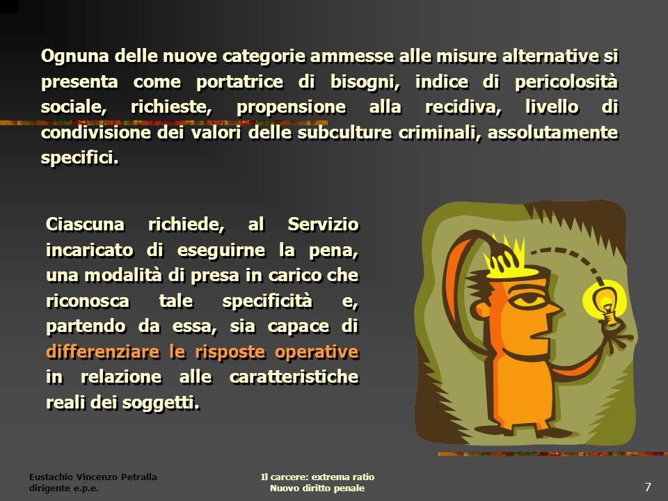 Eustachio Vincenzo Petralla dirigente e.p.e. Il carcere: extrema ratio Nuovo diritto penale 7 Ciascuna richiede, al Servizio incaricato di eseguirne l