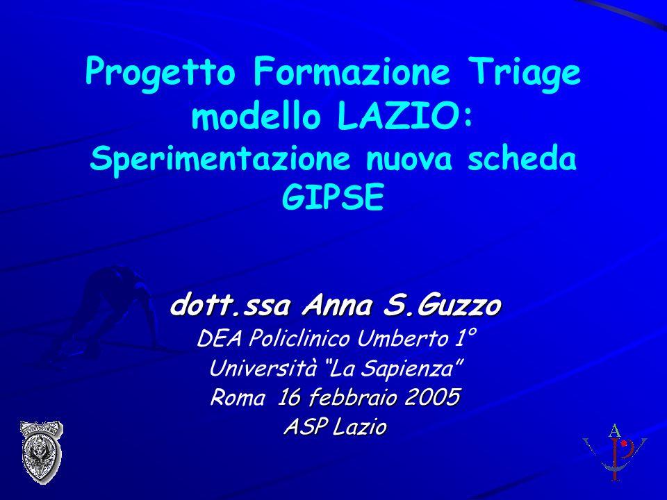 Progetto Formazione Triage modello LAZIO: Sperimentazione nuova scheda GIPSE dott.ssa Anna S.Guzzo DEA Policlinico Umberto 1° Università La Sapienza 16 febbraio 2005 Roma 16 febbraio 2005 ASP Lazio