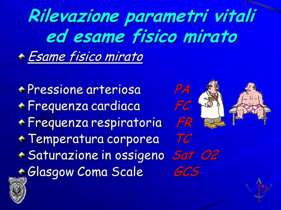 Rilevazione parametri vitali ed esame fisico mirato Esame fisico mirato Pressione arteriosa PA Frequenza cardiaca FC Frequenza respiratoria FR Tempera