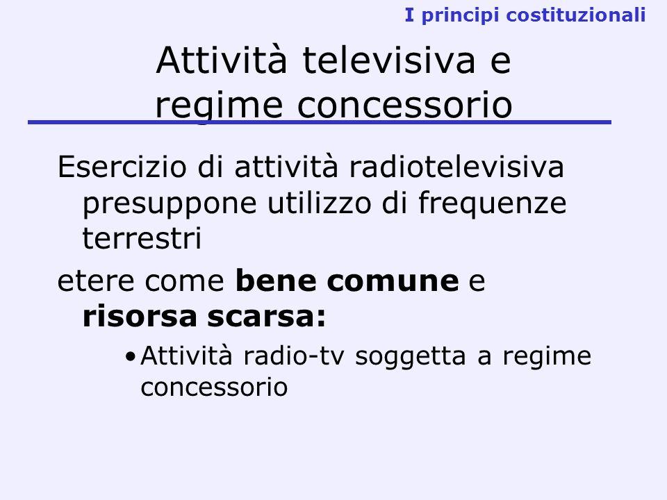 Attività televisiva e regime concessorio Esercizio di attività radiotelevisiva presuppone utilizzo di frequenze terrestri etere come bene comune e ris