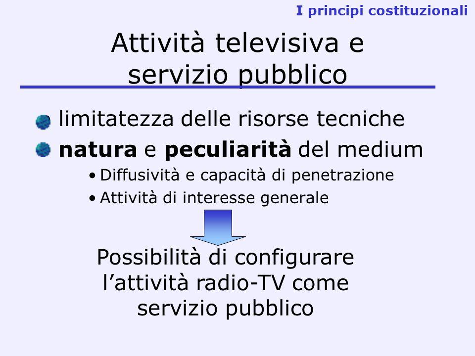 Attività televisiva e servizio pubblico limitatezza delle risorse tecniche natura e peculiarità del medium Diffusività e capacità di penetrazione Attività di interesse generale I principi costituzionali Possibilità di configurare lattività radio-TV come servizio pubblico
