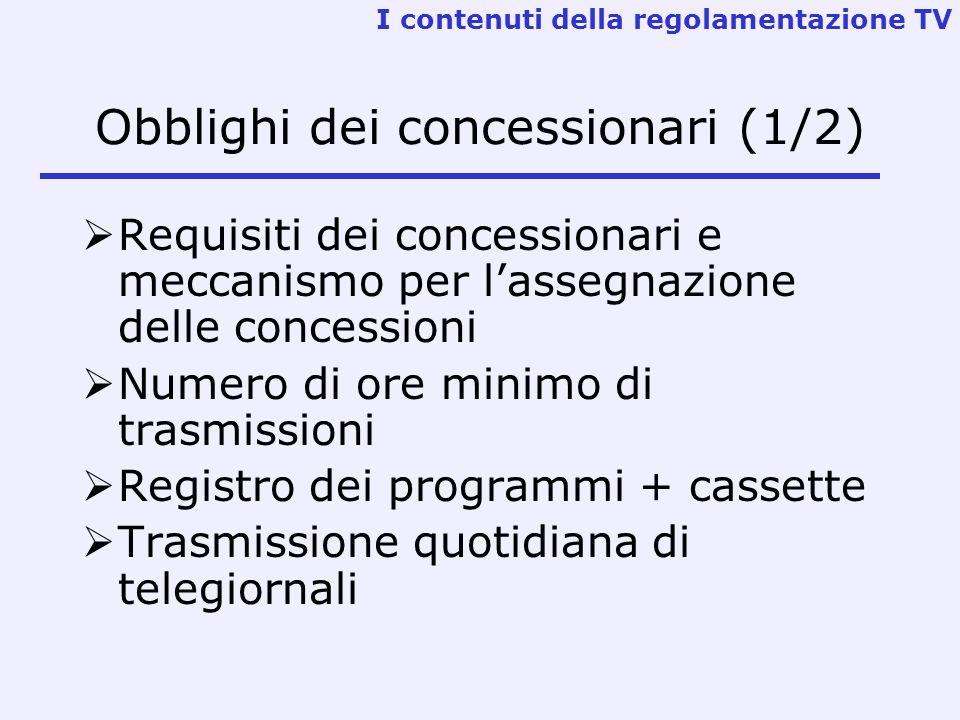 Obblighi dei concessionari (1/2) Requisiti dei concessionari e meccanismo per lassegnazione delle concessioni Numero di ore minimo di trasmissioni Reg