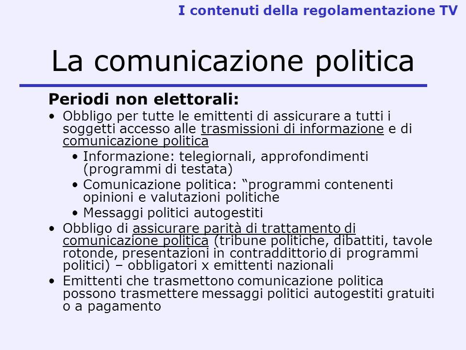 La comunicazione politica Periodi non elettorali: Obbligo per tutte le emittenti di assicurare a tutti i soggetti accesso alle trasmissioni di informa