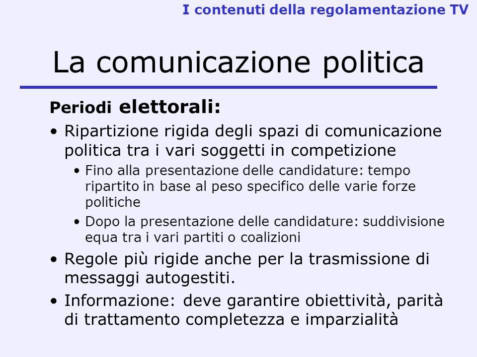 La comunicazione politica Periodi elettorali: Ripartizione rigida degli spazi di comunicazione politica tra i vari soggetti in competizione Fino alla