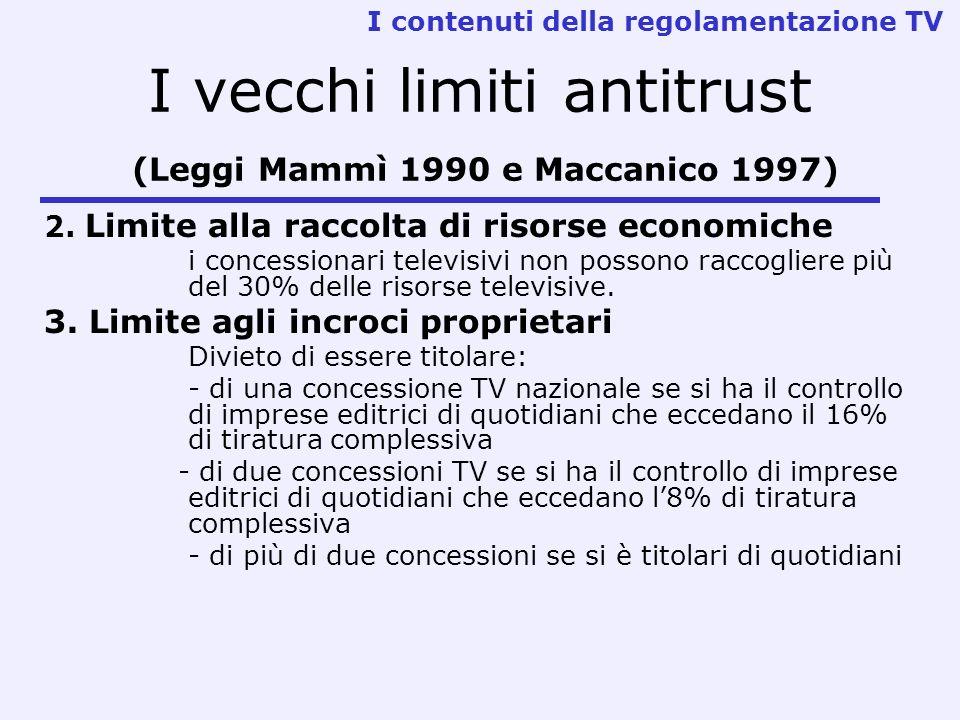 I vecchi limiti antitrust (Leggi Mammì 1990 e Maccanico 1997) 2. Limite alla raccolta di risorse economiche i concessionari televisivi non possono rac