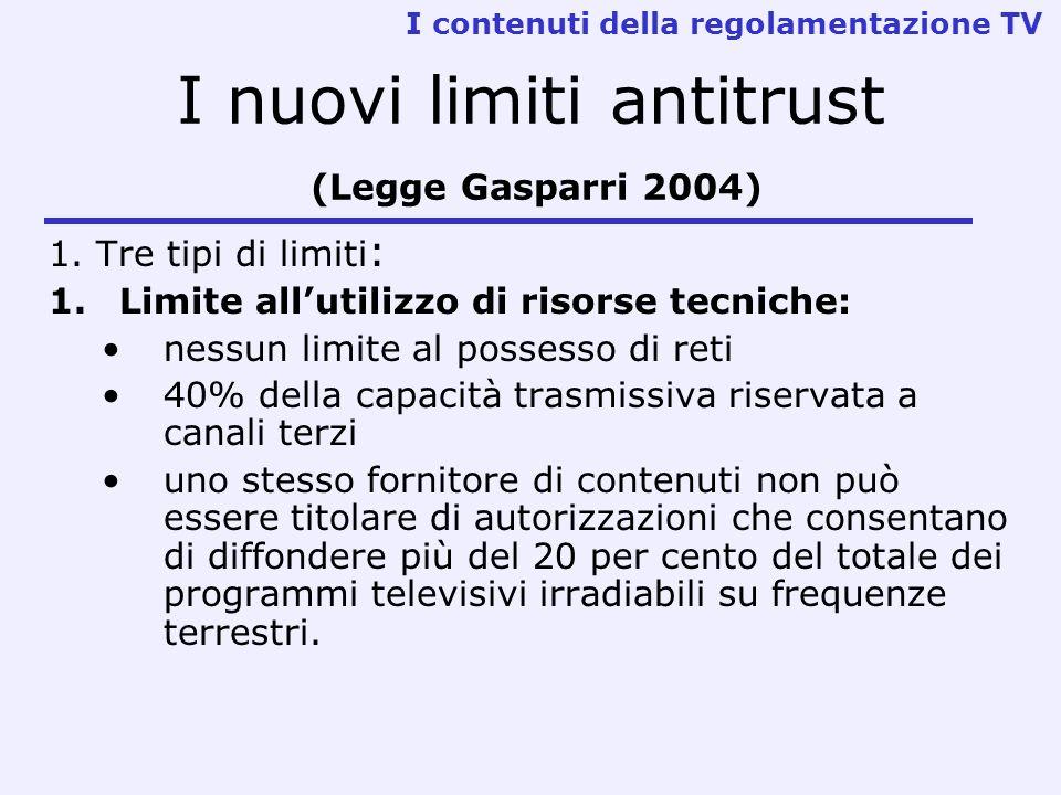 I nuovi limiti antitrust (Legge Gasparri 2004) 1. Tre tipi di limiti : 1.Limite allutilizzo di risorse tecniche: nessun limite al possesso di reti 40%