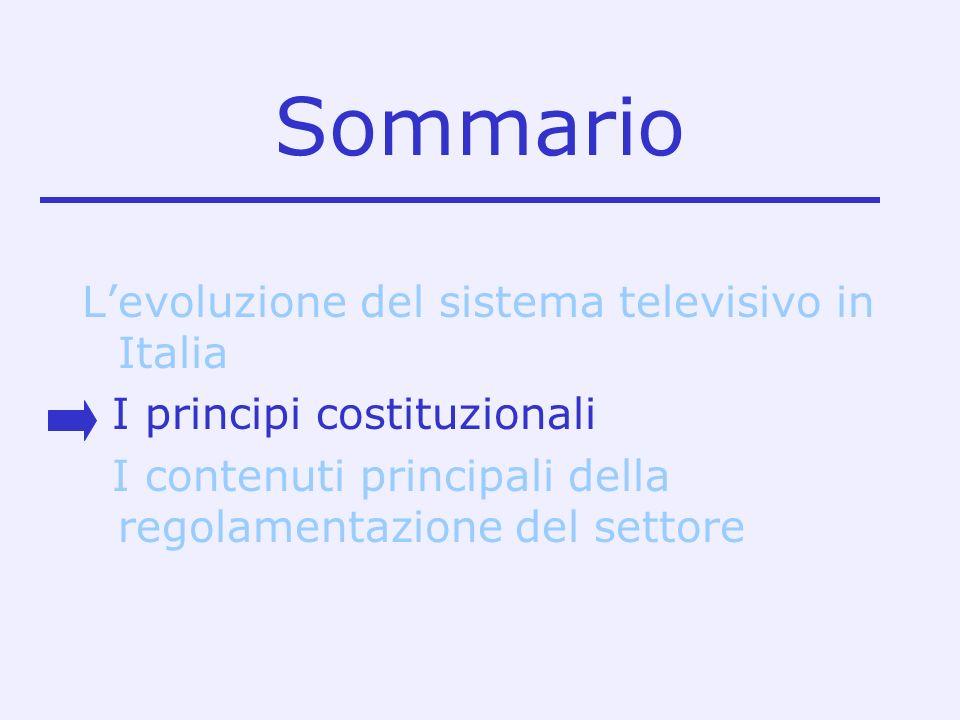 Sommario Levoluzione del sistema televisivo in Italia I principi costituzionali I contenuti principali della regolamentazione del settore