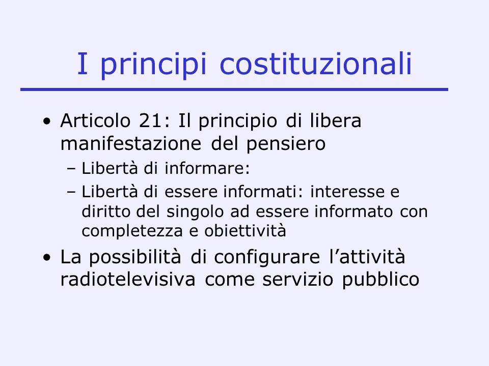 Larticolo 21 Tutti hanno diritto di manifestare liberamente il proprio pensiero con la parola, lo scritto e ogni altro mezzo di diffusione Profilo attivo: libertà di informare Profilo passivo: libertà di essere informati.