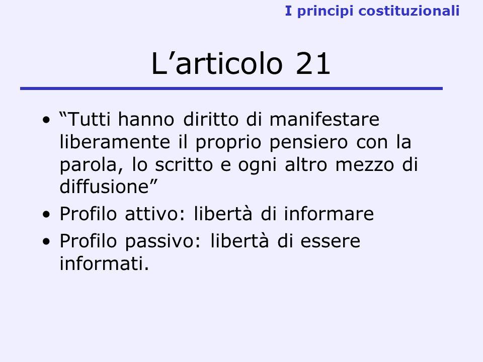 Larticolo 21 Tutti hanno diritto di manifestare liberamente il proprio pensiero con la parola, lo scritto e ogni altro mezzo di diffusione Profilo att