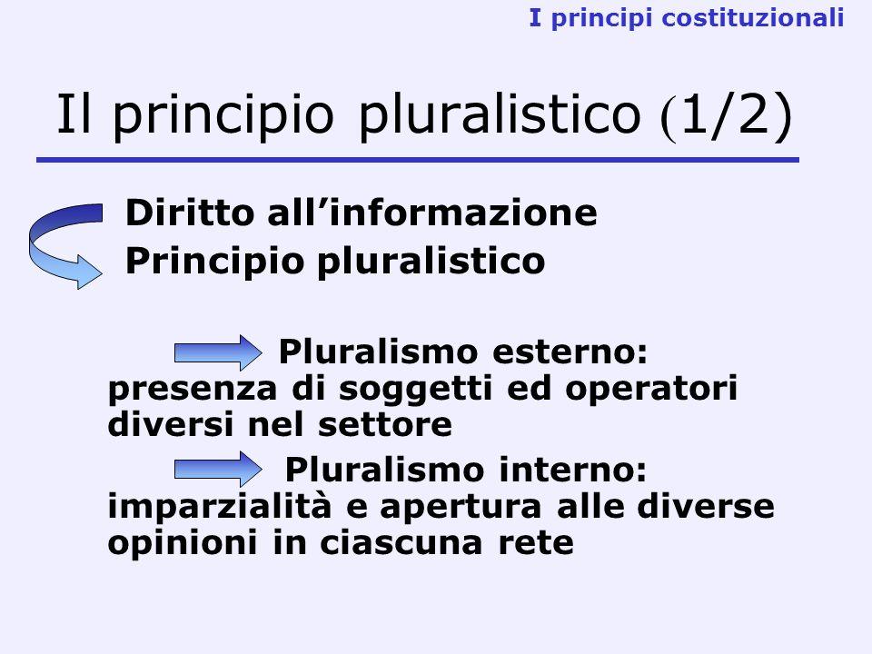 Il principio pluralistico ( 1/2) Diritto allinformazione Principio pluralistico Pluralismo esterno: presenza di soggetti ed operatori diversi nel settore Pluralismo interno: imparzialità e apertura alle diverse opinioni in ciascuna rete I principi costituzionali
