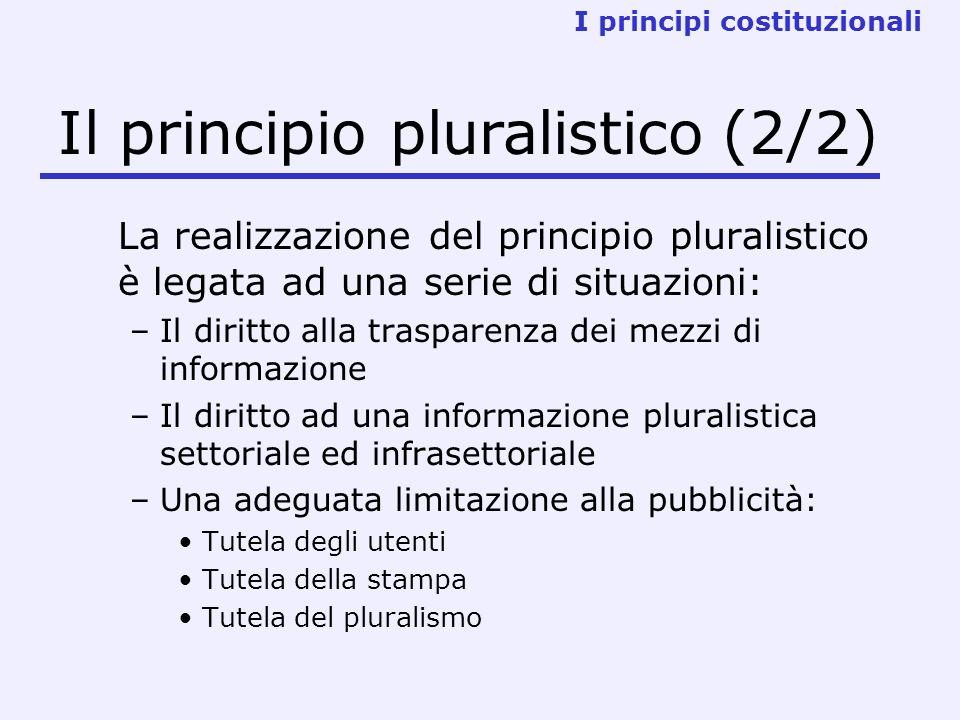 La realizzazione del principio pluralistico è legata ad una serie di situazioni: –Il diritto alla trasparenza dei mezzi di informazione –Il diritto ad una informazione pluralistica settoriale ed infrasettoriale –Una adeguata limitazione alla pubblicità: Tutela degli utenti Tutela della stampa Tutela del pluralismo I principi costituzionali Il principio pluralistico (2/2)
