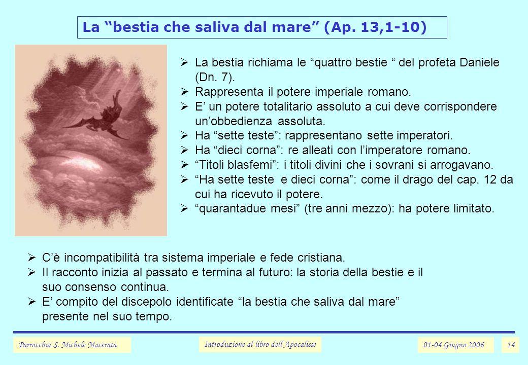 14 La bestia che saliva dal mare (Ap.13,1-10) Parrocchia S.
