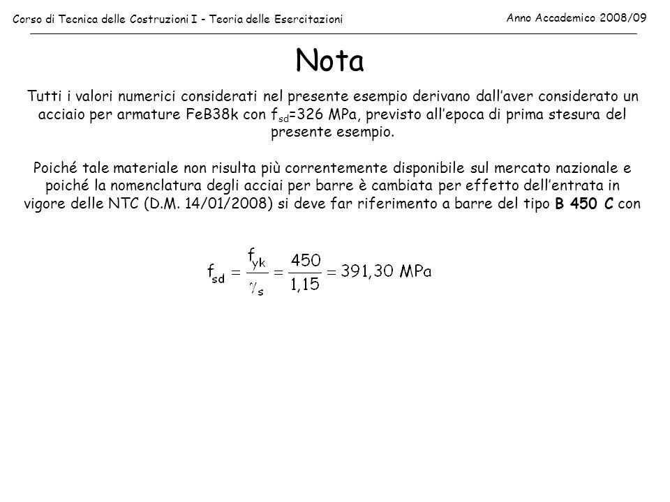 Nota Corso di Tecnica delle Costruzioni I - Teoria delle Esercitazioni Anno Accademico 2008/09 Tutti i valori numerici considerati nel presente esempi