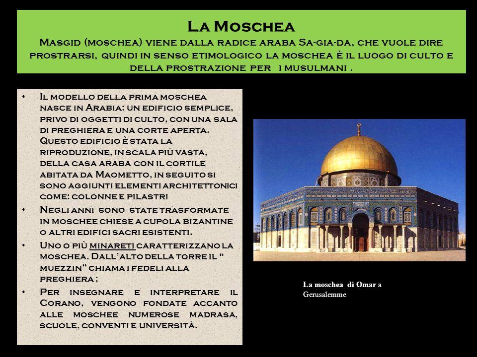 La Moschea Masgid (moschea) viene dalla radice araba Sa-gia-da, che vuole dire prostrarsi, quindi in senso etimologico la moschea è il luogo di culto