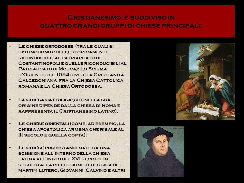 Cristianesimo, è suddiviso in quattro grandi gruppi di chiese principali: Le chiese ortodosse (tra le quali si distinguono quelle storicamente ricondu