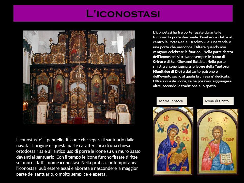 L'iconostasi L'iconostasi e il pannello di icone che separa il santuario dalla navata. L'origine di questa parte caratteristica di una chiesa ortodoss
