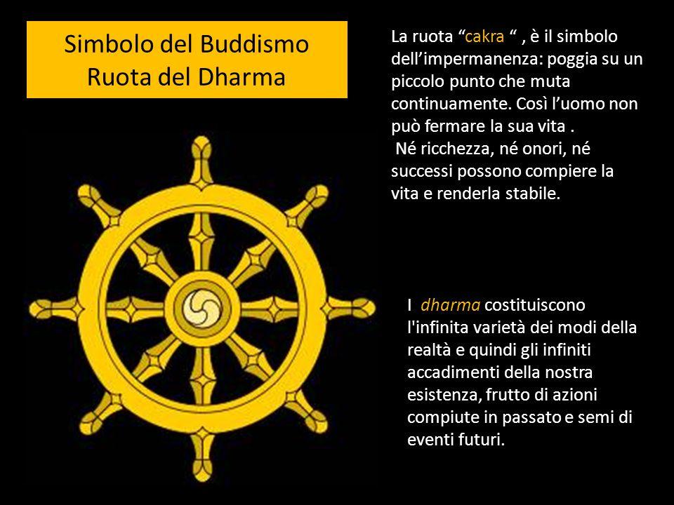 Simbolo del Buddismo Ruota del Dharma La ruota cakra, è il simbolo dellimpermanenza: poggia su un piccolo punto che muta continuamente. Così luomo non