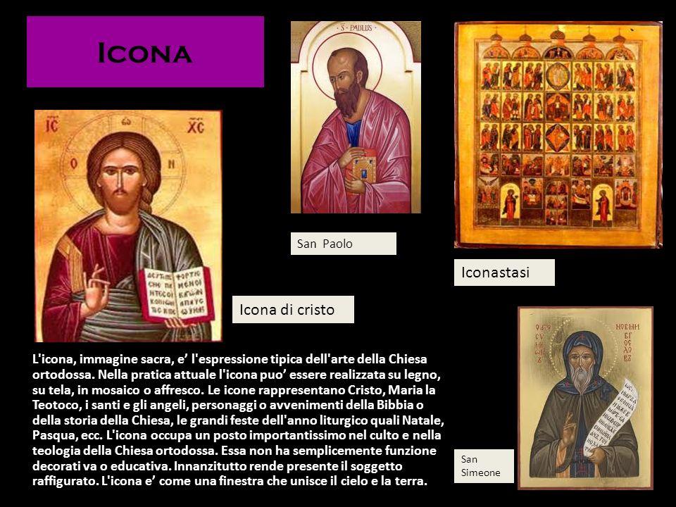 Icona L'icona, immagine sacra, e l'espressione tipica dell'arte della Chiesa ortodossa. Nella pratica attuale l'icona puo essere realizzata su legno,