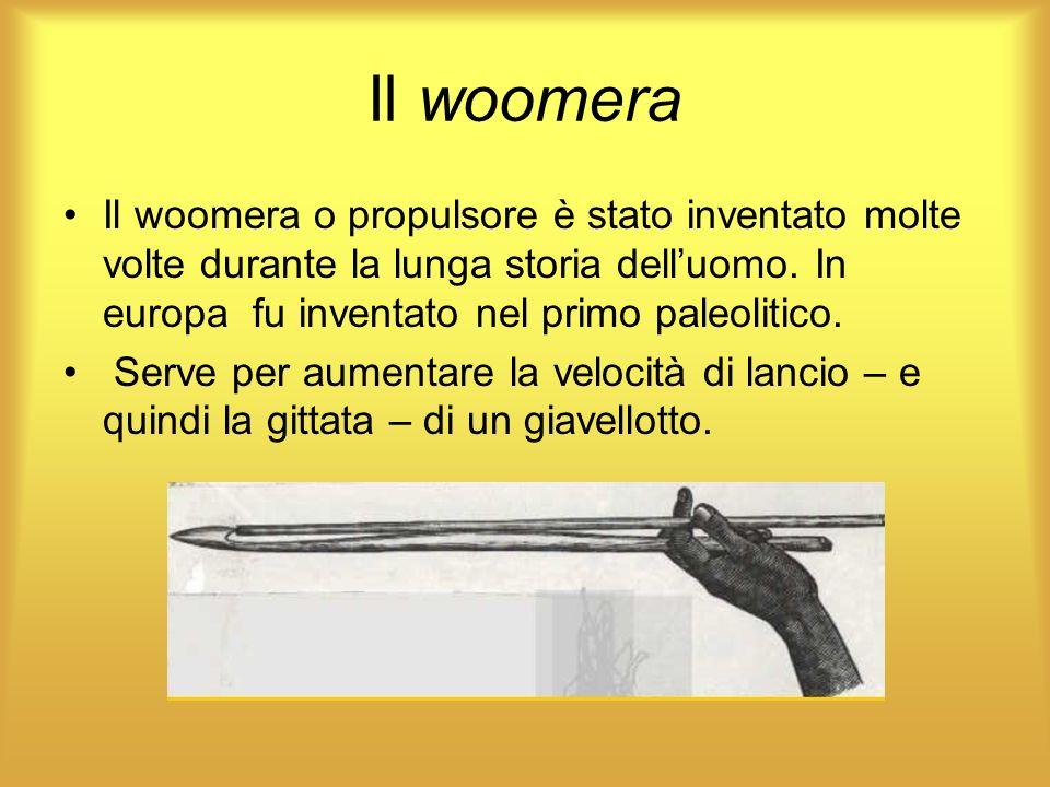 Il woomera Il woomera o propulsore è stato inventato molte volte durante la lunga storia delluomo. In europa fu inventato nel primo paleolitico. Serve