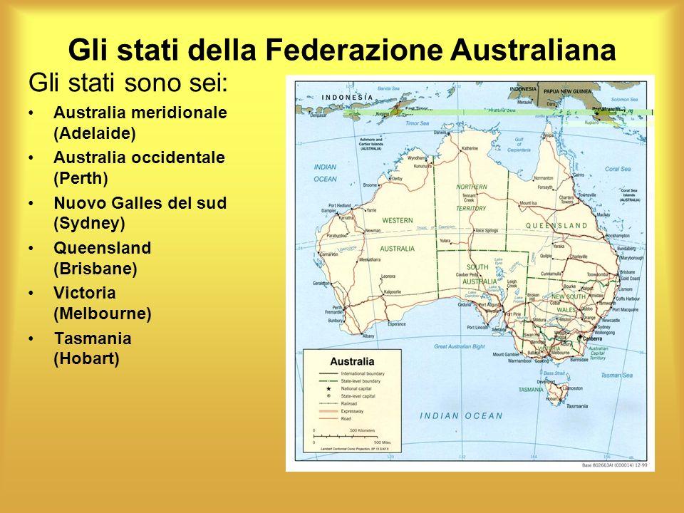 Gli stati della Federazione Australiana Gli stati sono sei: Australia meridionale (Adelaide) Australia occidentale (Perth) Nuovo Galles del sud (Sydne