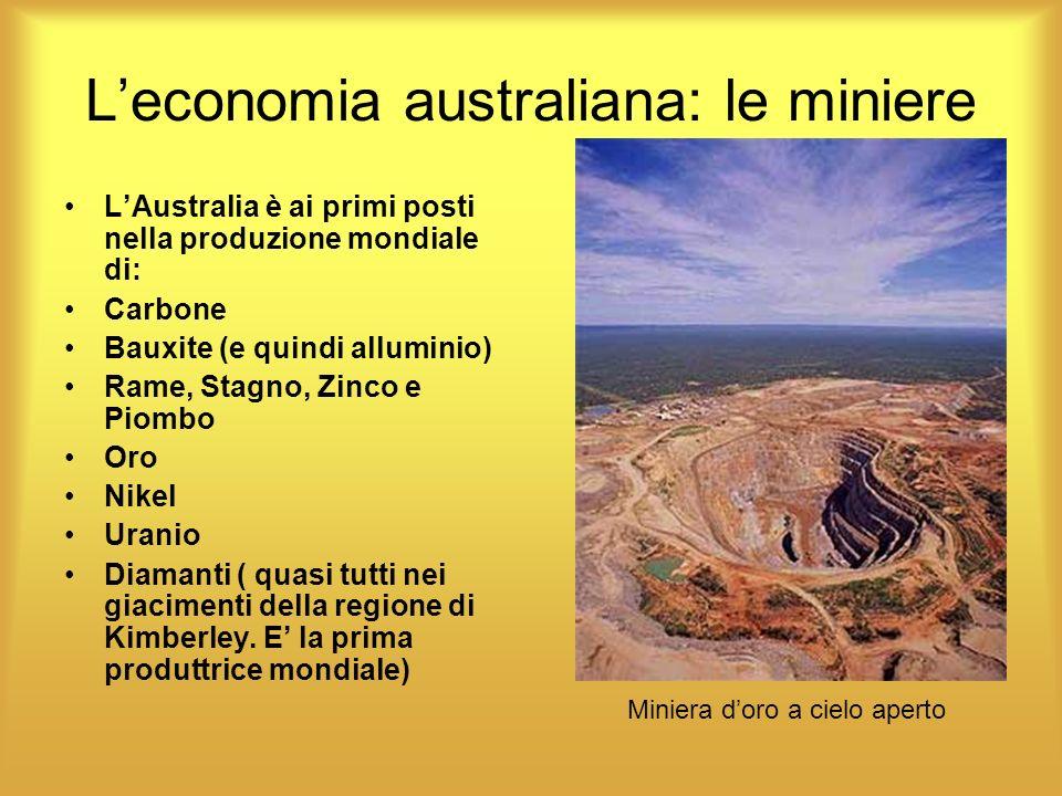 Leconomia australiana: le miniere LAustralia è ai primi posti nella produzione mondiale di: Carbone Bauxite (e quindi alluminio) Rame, Stagno, Zinco e