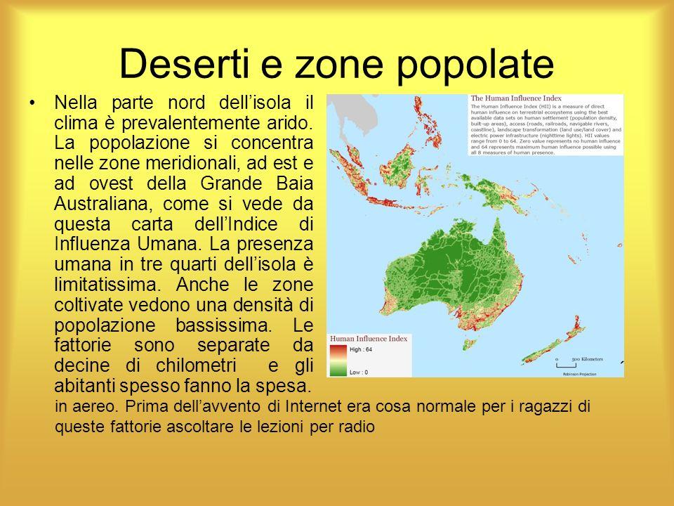 Laustralia dei deserti Specialmente la zona occidentale, geologicamente antichissima, è ricoperta di deserti.