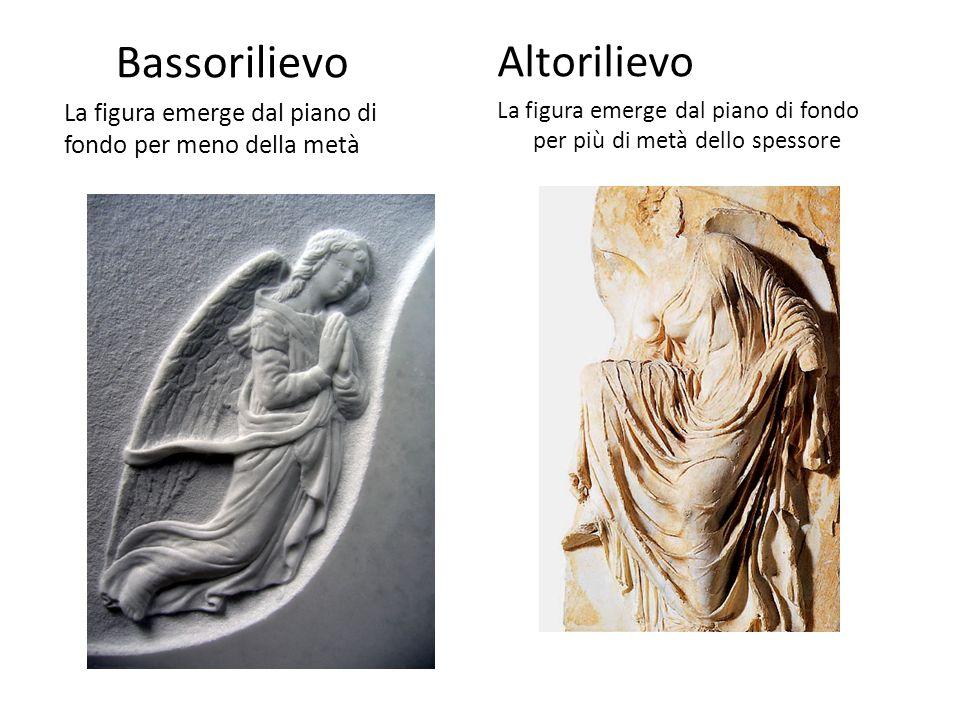 Bassorilievo La figura emerge dal piano di fondo per meno della metà Altorilievo La figura emerge dal piano di fondo per più di metà dello spessore