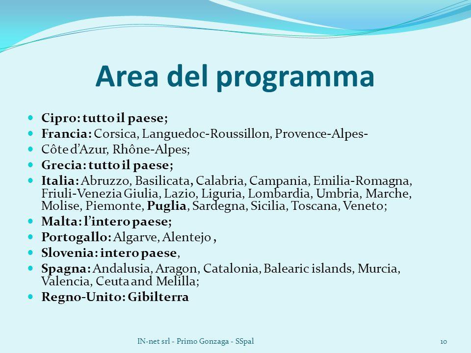 Area del programma Cipro: tutto il paese; Francia: Corsica, Languedoc-Roussillon, Provence-Alpes- Côte dAzur, Rhône-Alpes; Grecia: tutto il paese; Ita
