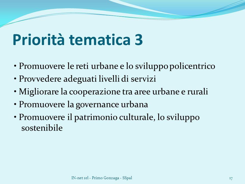 Priorità tematica 3 Promuovere le reti urbane e lo sviluppo policentrico Provvedere adeguati livelli di servizi Migliorare la cooperazione tra aree urbane e rurali Promuovere la governance urbana Promuovere il patrimonio culturale, lo sviluppo sostenibile IN-net srl - Primo Gonzaga - SSpal17