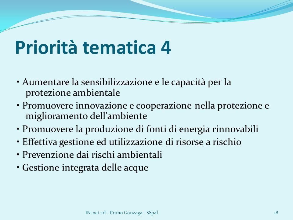 Priorità tematica 4 Aumentare la sensibilizzazione e le capacità per la protezione ambientale Promuovere innovazione e cooperazione nella protezione e