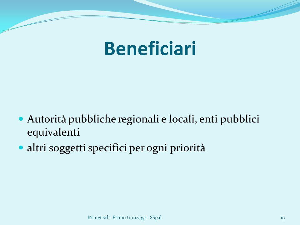 Beneficiari Autorità pubbliche regionali e locali, enti pubblici equivalenti altri soggetti specifici per ogni priorità IN-net srl - Primo Gonzaga - SSpal19