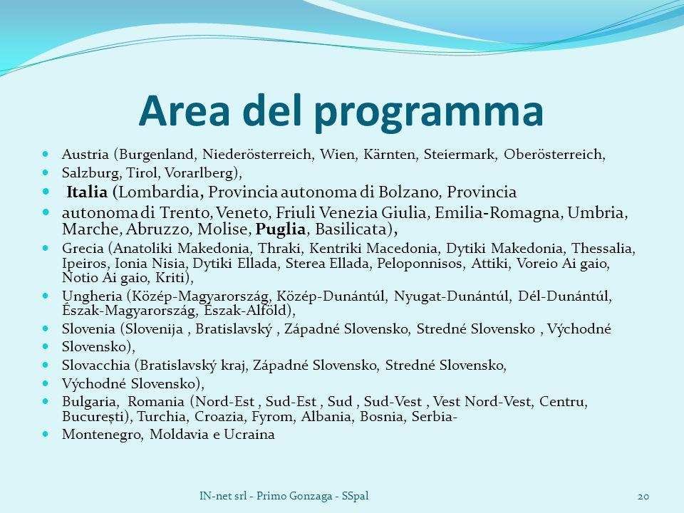 Area del programma Austria (Burgenland, Niederösterreich, Wien, Kärnten, Steiermark, Oberösterreich, Salzburg, Tirol, Vorarlberg), Italia (Lombardia,