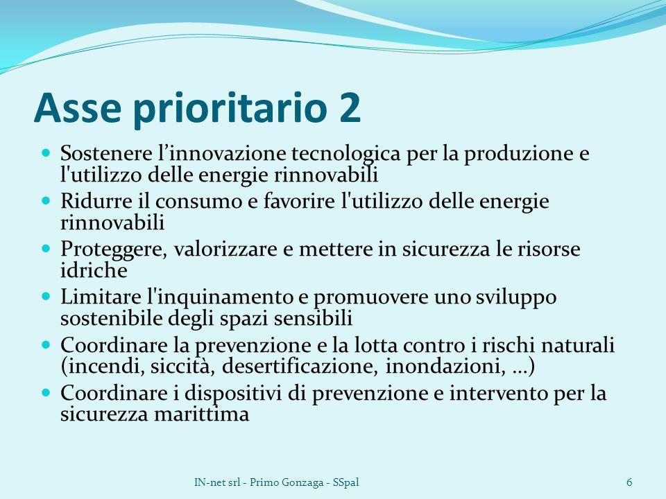 Asse prioritario 2 Sostenere linnovazione tecnologica per la produzione e l'utilizzo delle energie rinnovabili Ridurre il consumo e favorire l'utilizz