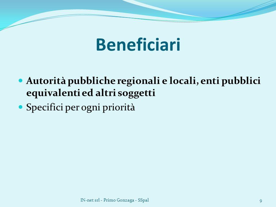 Beneficiari Autorità pubbliche regionali e locali, enti pubblici equivalenti ed altri soggetti Specifici per ogni priorità IN-net srl - Primo Gonzaga