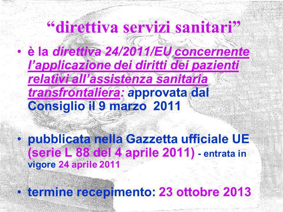 direttiva servizi sanitari è la direttiva 24/2011/EU concernente lapplicazione dei diritti dei pazienti relativi allassistenza sanitaria transfrontali