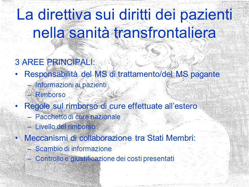 La direttiva sui diritti dei pazienti nella sanità transfrontaliera 3 AREE PRINCIPALI: Responsabilità del MS di trattamento/del MS pagante –Informazio