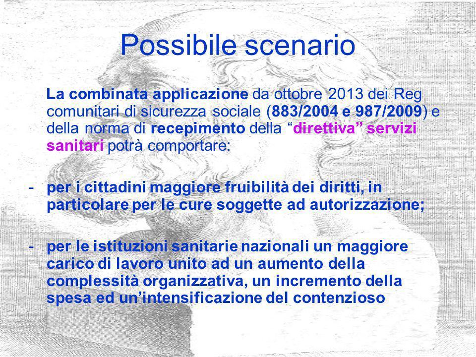 Possibile scenario La combinata applicazione da ottobre 2013 dei Reg comunitari di sicurezza sociale (883/2004 e 987/2009) e della norma di recepiment