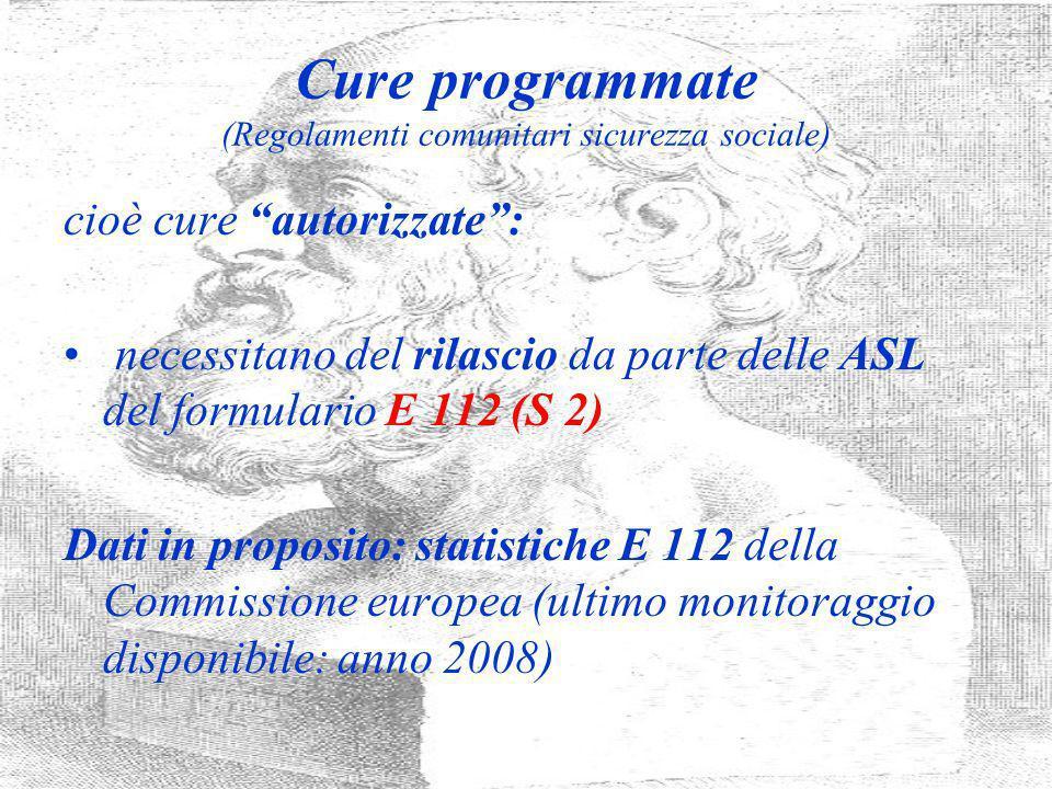 Cure programmate (Regolamenti comunitari sicurezza sociale) cioè cure autorizzate: necessitano del rilascio da parte delle ASL del formulario E 112 (S