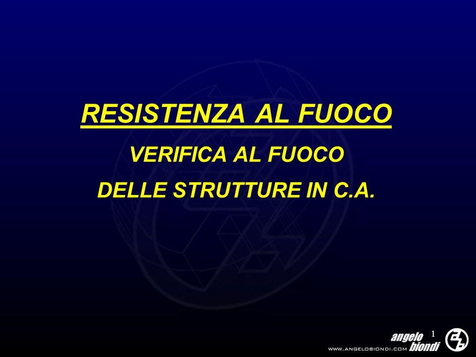 2 RESISTENZA AL FUOCO Programma del corso: Riferimenti normativi Mappatura termica delle sezioni Verifiche di resistenza Applicazioni tramite software C.D.S.