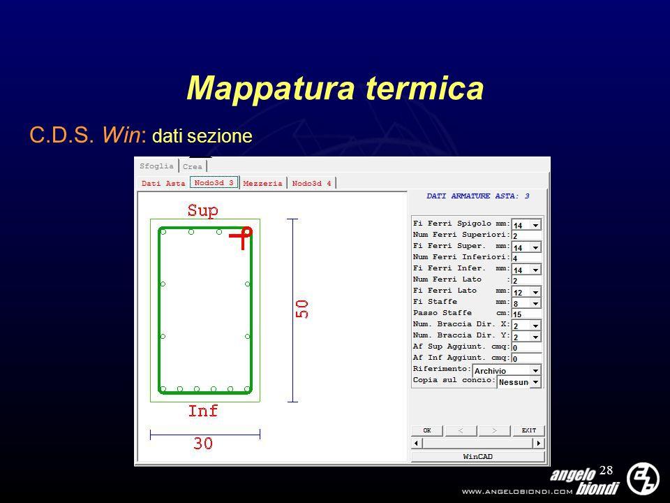 28 Mappatura termica C.D.S. Win: dati sezione