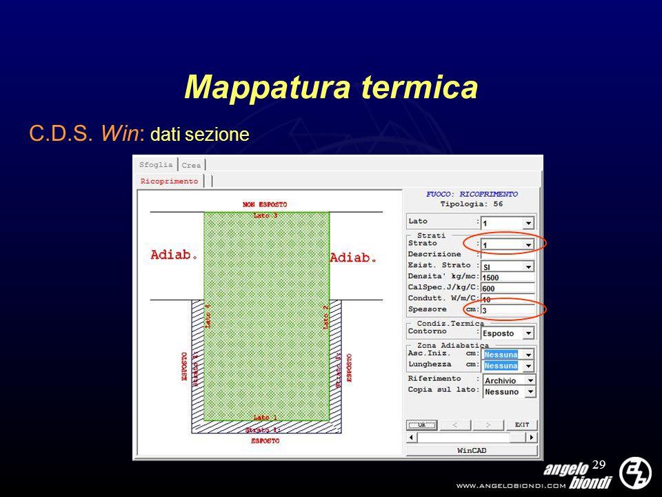 29 Mappatura termica C.D.S. Win: dati sezione