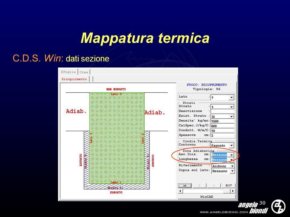 30 Mappatura termica C.D.S. Win: dati sezione