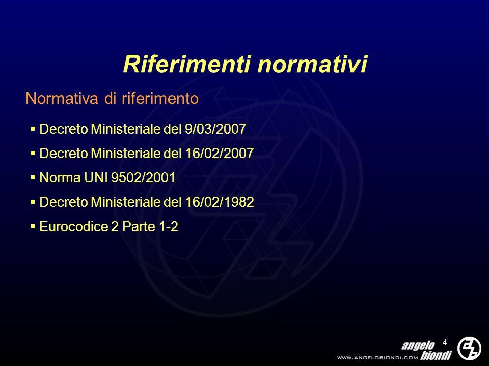 4 Riferimenti normativi Normativa di riferimento Decreto Ministeriale del 9/03/2007 Decreto Ministeriale del 16/02/2007 Norma UNI 9502/2001 Decreto Mi