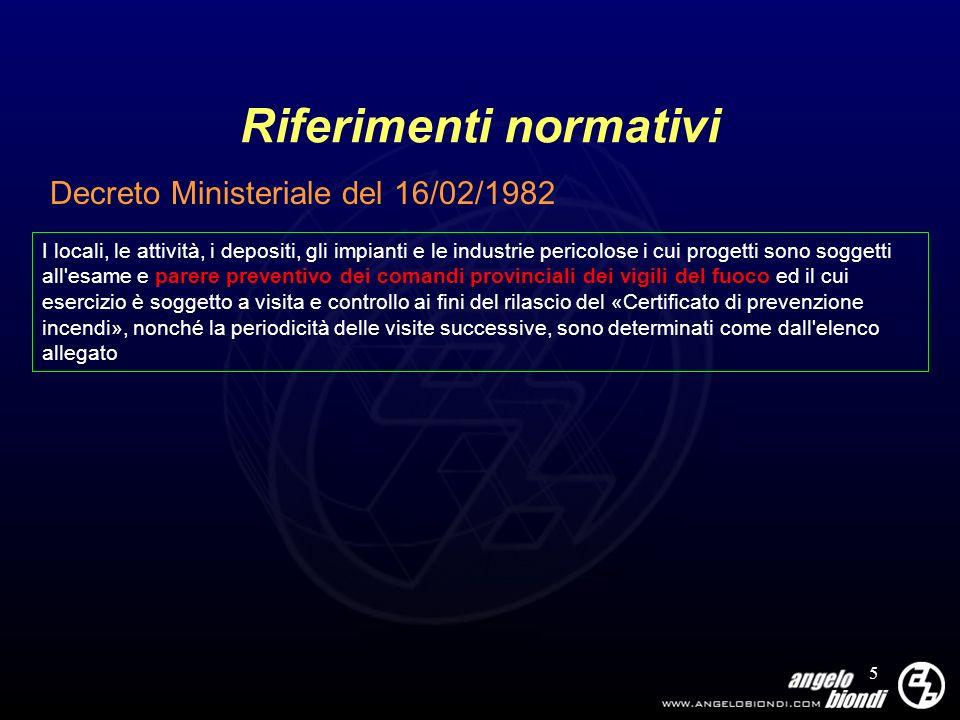 5 Riferimenti normativi Decreto Ministeriale del 16/02/1982 I locali, le attività, i depositi, gli impianti e le industrie pericolose i cui progetti s