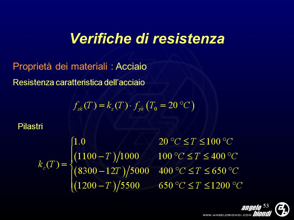 53 Verifiche di resistenza Proprietà dei materiali : Acciaio Resistenza caratteristica dellacciaio Pilastri