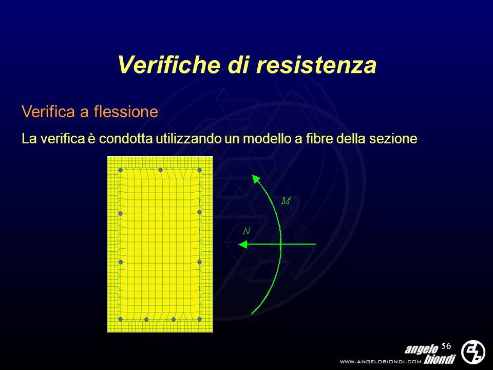 56 Verifiche di resistenza Verifica a flessione La verifica è condotta utilizzando un modello a fibre della sezione