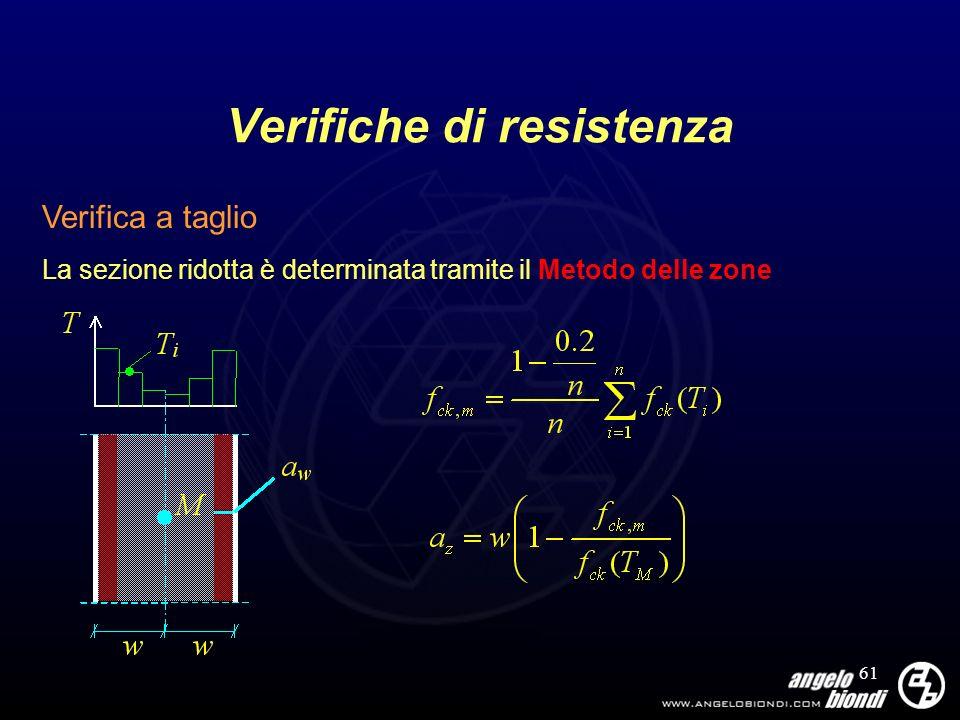 61 Verifiche di resistenza Verifica a taglio La sezione ridotta è determinata tramite il Metodo delle zone
