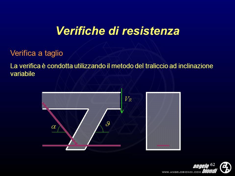 62 Verifiche di resistenza Verifica a taglio La verifica è condotta utilizzando il metodo del traliccio ad inclinazione variabile